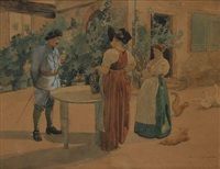 conversation dans une cour de ferme alsacienne by charles spindler