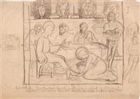 marie-madeleine lavant les pieds du christ et reprise des personnages dans la marge by paul sérusier