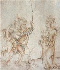 saint christophe portant l'enfant jésus et sainte barbara by hans (suess von) kulmbach