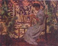 pealing apples in the garden by jean louis aste