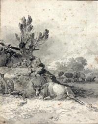 deux jeunes pâtres regardant des vaches et des moutons by jean-jacques de boissieu
