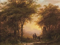 travelers on a forest path near a chapel by johann bernard klombeck