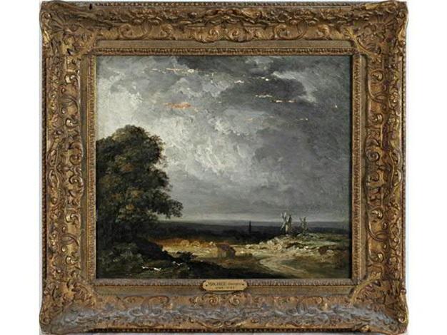 paysage avec deux moulins à vent by georges michel