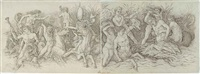 the battle of the sea gods (pair, one smllr) by andrea mantegna