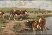 vaches à l'abreuvoir by léon barillot