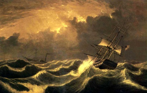 ships passing in rough seas by fitz henry lane