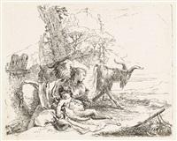 ninfa con piccolo satiro e due capre (from vari capricci) by giovanni battista tiepolo