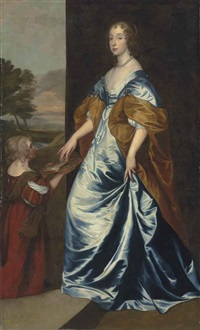 portrait of mary villiers (1622-1685), lady herbert, later duchess of lennox and richmond by sir anthony van dyck