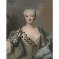 portrait of a lady, wearing a silver dress with a floral wreath by louis tocqué