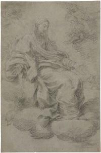 vergine assisa, recto, e piedi di un angelo inginocchiato, verso by giacomo zoboli