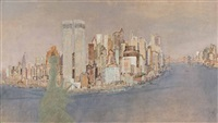 skyline von manhattan, new york by edmund blechinger
