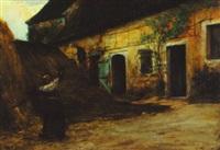 gathering hay in the stableyard by joseph-marius avy