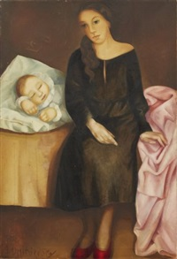 a mother by her sleeping child by lydia dmitrievsky