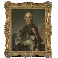 portrait of a gentleman, half length, wearing armour with a blue ermine-lined cloak by jean baptiste nattier