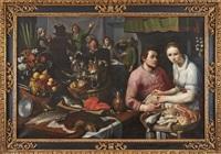 küchenstück mit tischgesellschaft, köchin und geflügelhändler by cornelis cornelisz van haarlem