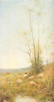 ciobănaş cu turmă de oi by juan (alexandru paraschivescu) alpar