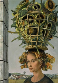 girl with sunflower basket by jean-pierre alaux