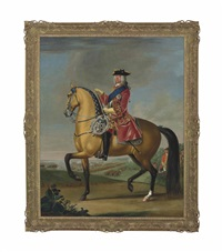 equestrian portrait of king george ii (1683-1770), in a red velvet coat with gold embroidery, in a landscape with a military camp and infantry beyond by david morier