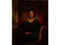 a portrait of catherine hungerford, seated in an interior, wearing a gold guard chain over her black dress, her clasped hands resting on her lap, with red curtains behind and a landscape to the distance by george chinnery