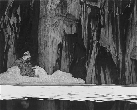 frozen lake and cliffs sierra nevada california by ansel adams