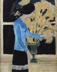 femme en bleu by andré brasilier