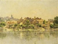 village au bord du fleuve by adrien jacques sauzay