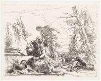 donna con le braccia incatenate e quattro figure (from vari capricci) by giovanni battista tiepolo
