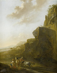 a rocky landscape with four figures conversing in the foreground by jan asselijn