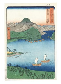 comprising three oban tate-e prints; two prints of konodai tonegawa fukei (view of konodai and tone river) and hiroo fukawa (fukawa river at hiroo) from the series meisho edo hyakkei (100 famous views of edo) by ando hiroshige