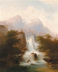 hochgebirgslandschaft mit einem wasserfall by j. gartner