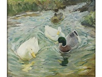 swimming against the current, lamorna stream by charles walter simpson