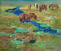 horses by a stream in the meadow by halfdan gran