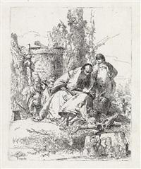 mago seduto, fanciullo e quattro figure (from scherzi) by giovanni battista tiepolo