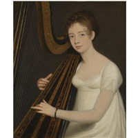 portrait of a young woman playing the harp by robert home