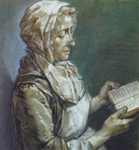 a lady seated in profile to the right reading a book by louis aubert