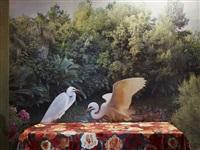 dancing egrets, août by lucia ganieva