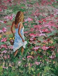 field of flowers by lorna millar