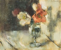 poppies in a glass vase by irmin henkel