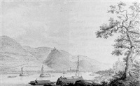 a view of braubach and marksburg from the west bank of the rhine at rhens by hendrick de leth
