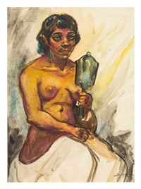seated nude holding mirror by dox thrash