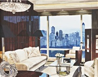 my houses: penthouse living room with view of central park south by julia jacquette