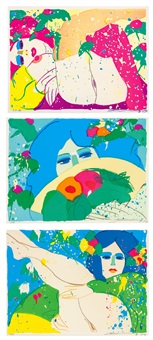 a.嬌豔紅髮 b.持扇的藍眼女子 c.藍髮女孩 (erotic compositions) (set of 3) by walasse ting