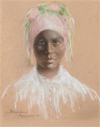 jeune marrakchi au foulard rose by abascal