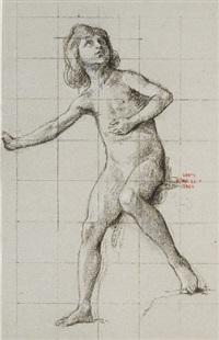 enfant nu, le bras gauche levé by henri léopold lévy