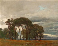 cloudy day - cattle in eucalyptus landscape by wilbur l. oakes