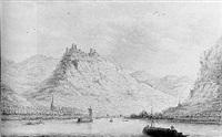 a view of kamp-bornhofen, burg sterrenburg and burg liebenstein on the rhine by hendrick de leth