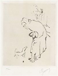 la vielle femme, l'enfant et le basset by pierre bonnard
