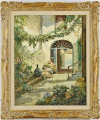 flowe-filled courtyard by abbott fuller graves