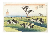 an oban yoko-e print of chiryu from the hoeido tokaido gojusan tsugi (53 stations on the tokaido road) series by ando hiroshige