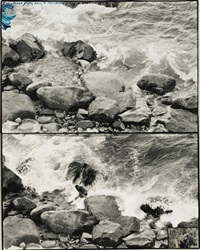 ken's rock, driftwood cove (sculptor ken hiratsuka creating drifted coral in the sea at montauk) (diptych) by peter beard